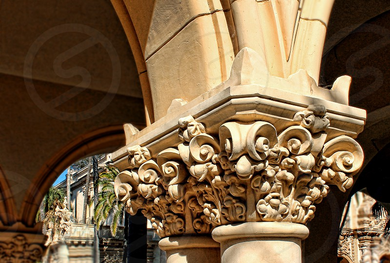 Detail of a Corinthian pillar or column photo