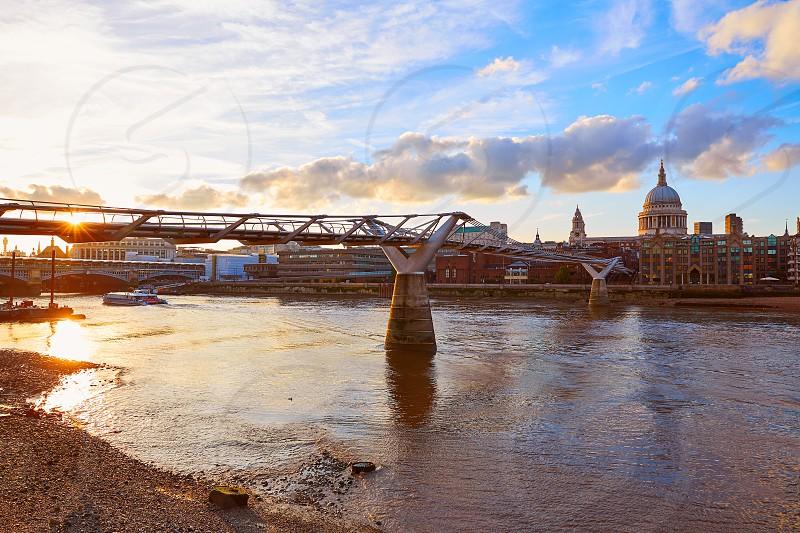 London St Paul Pauls cathedral sunset from Millennium bridge on Thames UK photo