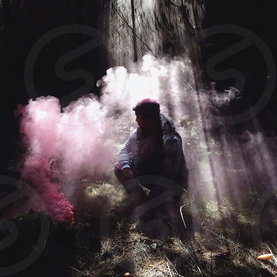 man in fire smoke view  photo