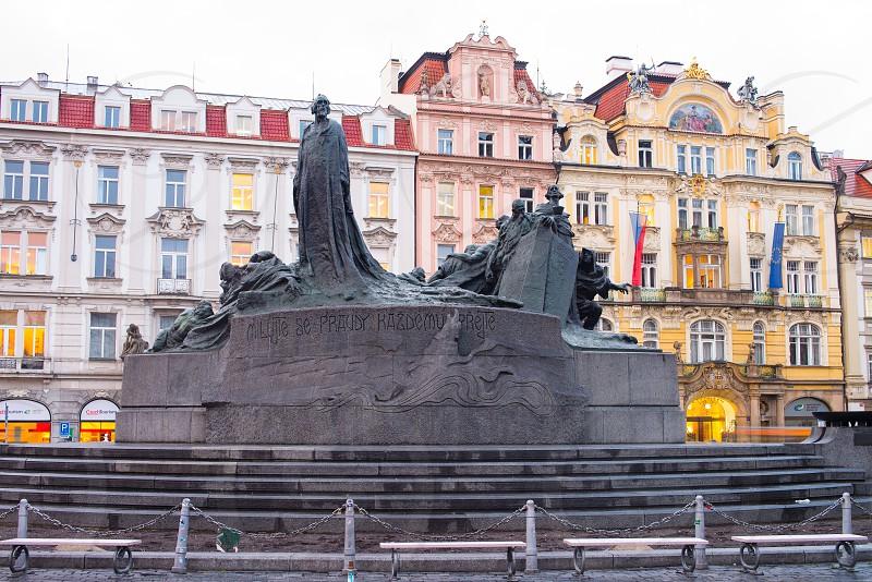 Jan Hus Memorial in Prague. photo