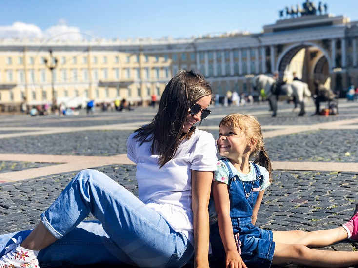 Russia Saint-Petersburg Winter Palace mother daughter happy hermitage museum  photo
