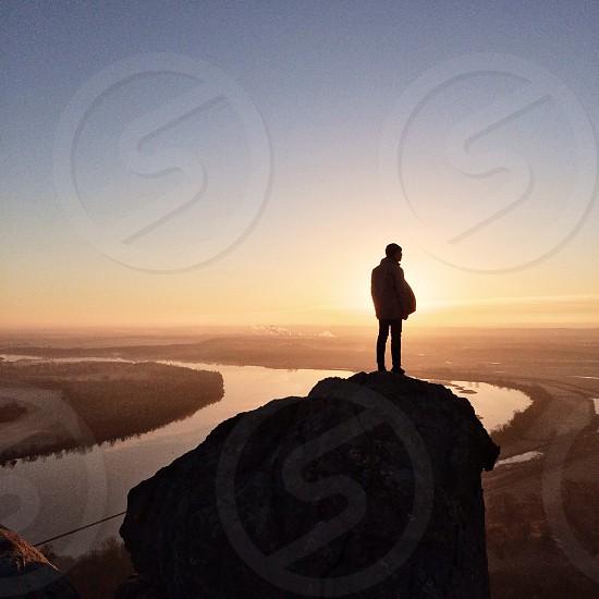 Sunrise hiking is always inspirational photo