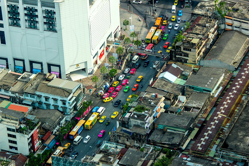 The busy streets of Bangkok Thailand as seed from the Bayok Sky Tower.   photo
