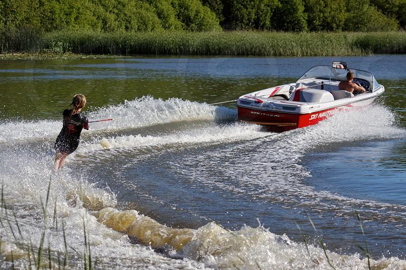 FELBRIDGE SURREY/UK - MAY 29 : Water skiing at Wiremill Lake  near Felbridge Surrey on May 29 2009. Unidentifed people. photo