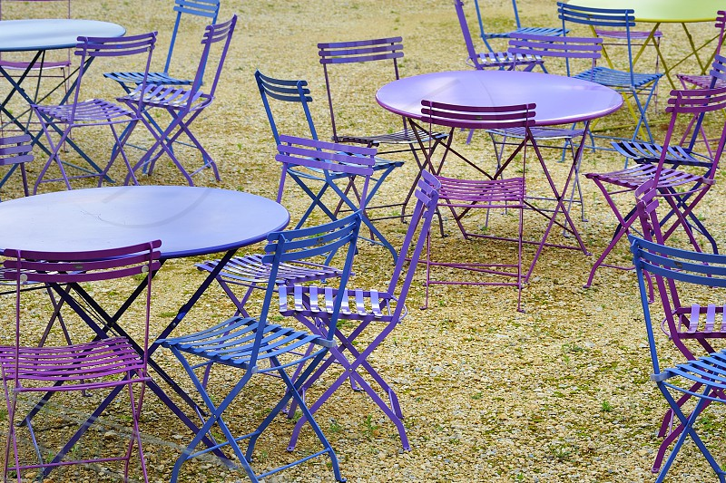 Pink tables at a restaurantMilan Italy photo