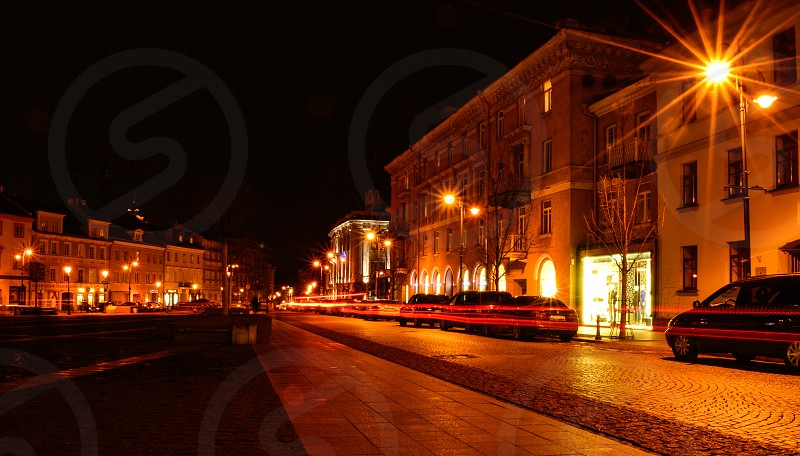 A city street at night photo