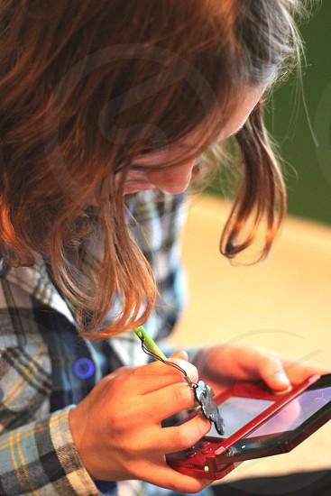 Teen girl Nintendo DS game flannel photo