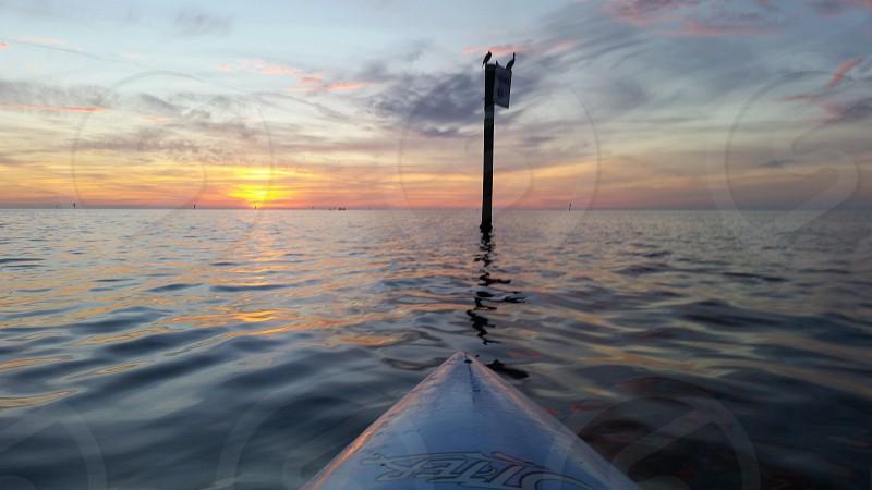 Florida sunset from a kayak. photo