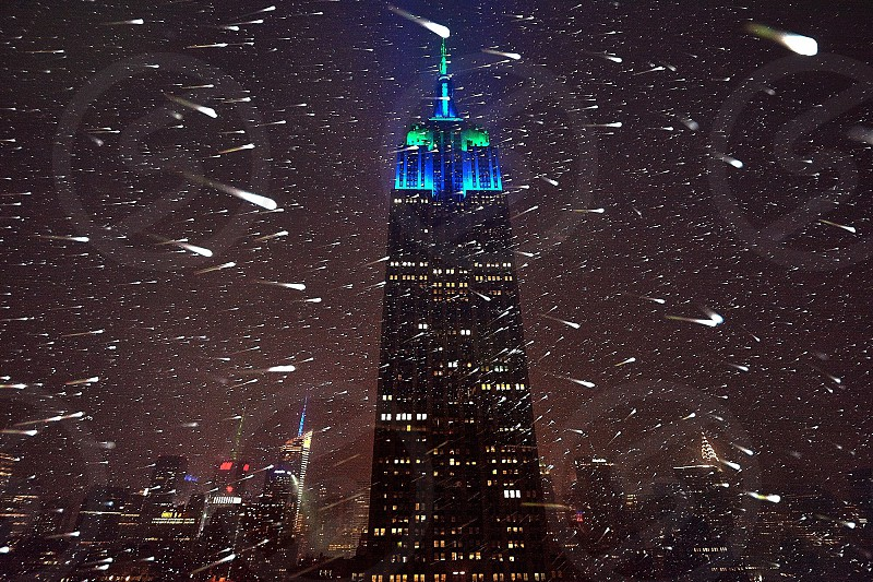 Blue on a snowy night in Manhattan photo