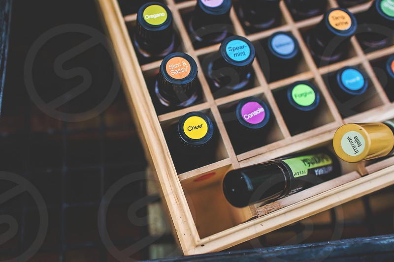 natural oils in colorful settings photo