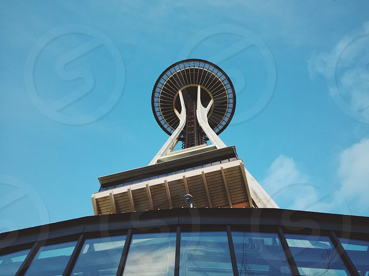 view up of the space needle in Seattle Washington photo