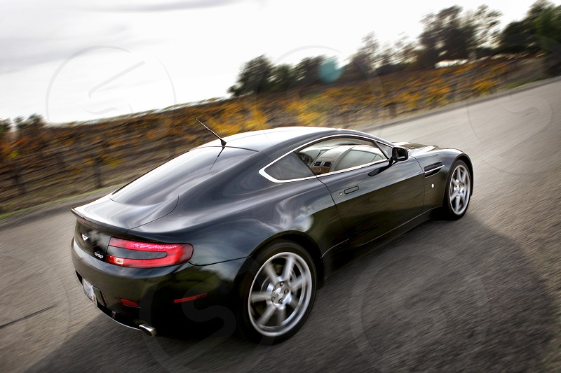 Aston Martin driving past a vineyard. photo
