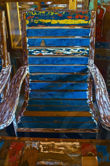 recycled boat planks multiple coats of paint sanded to reveal colored mixes; make beautiful chairs furniture photo