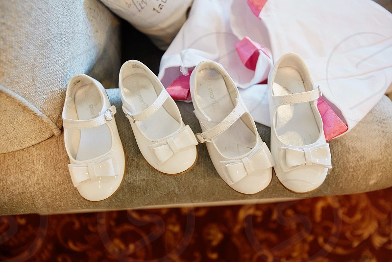 Little girls shoes flower girls shoes white shoes wedding day getting ready maryjanes bridal suite the day photo
