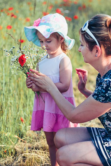 Mother and her little daughter in the field of wild flowers. Little girl picking the spring flowers for her mom for Mother's Day in the meadow. Nature scene family time photo