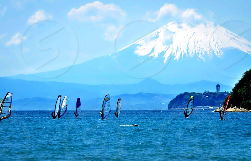 Shonan Beach wind surfers Mount Fuji photo