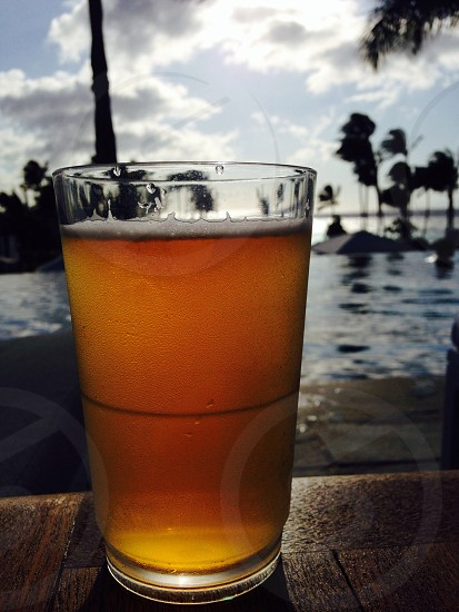 Cold lager on hot Hawaiian day photo