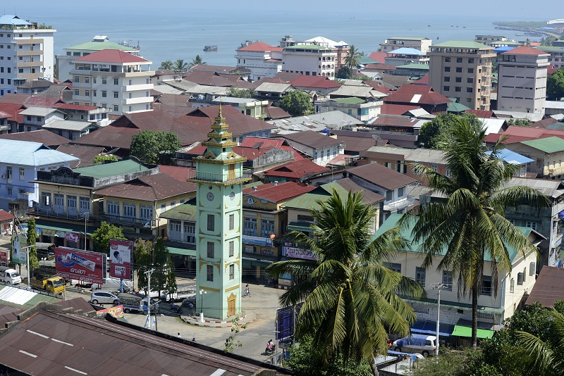 the City centre with the Clock Tower in the city of Myeik in the south in Myanmar in Southeastasia. photo