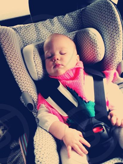 Sleeping beauty car seat maxi cosi baby  girl sleep travel  photo