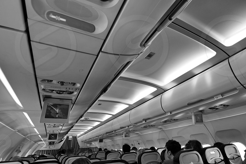 Interior of Airbus A318 aircraft photo