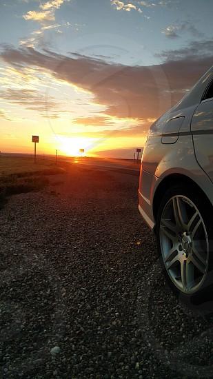 Morning on the road sunrise reflections  photo