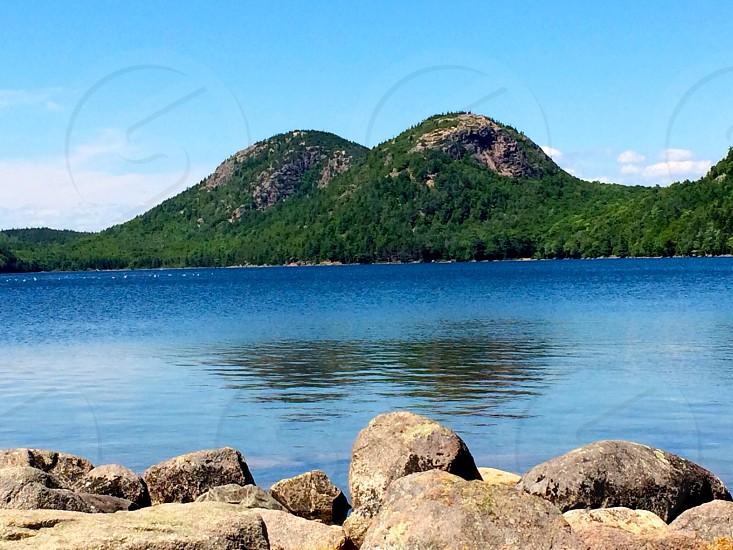 Jordan Pond and a view of the bubbles mountains. Acadia National Park Maine  photo