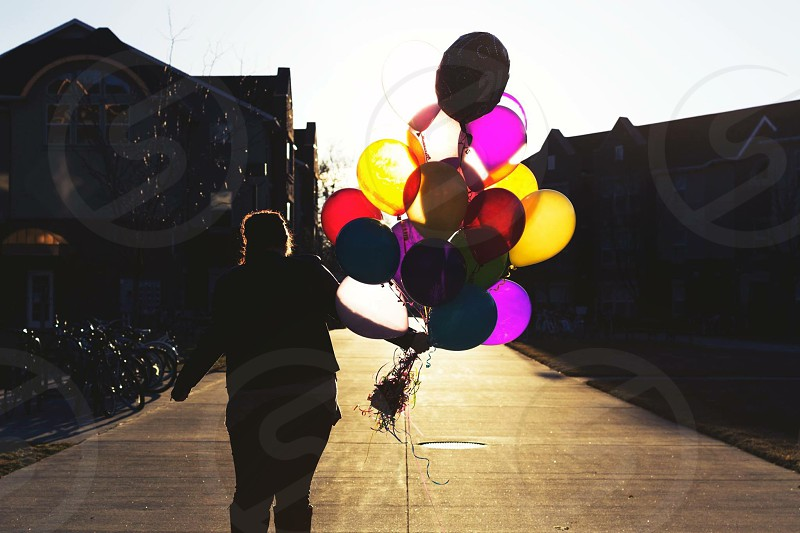 Balloons shadow sun bright colors balloon photo