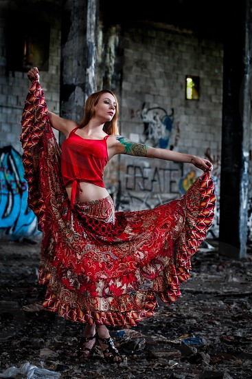 Model shoot in an old abandoned train yard photo