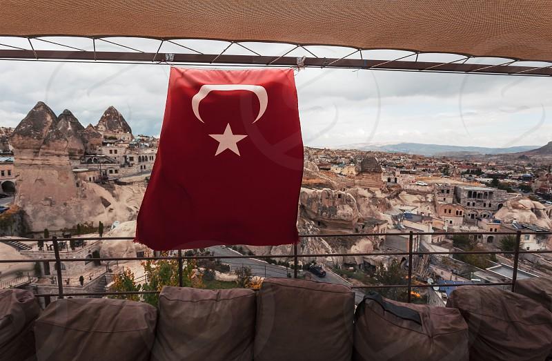 Turkish flag in a town of Goreme Cappadocia photo