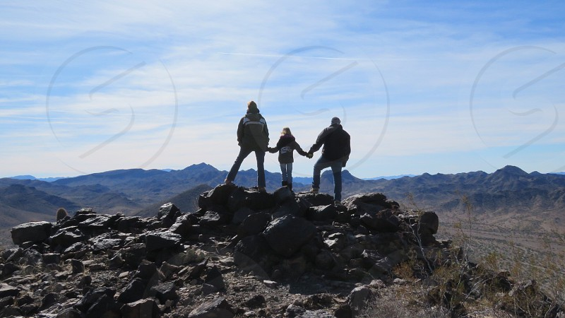 Family; leisure; landscape; hike; daughter; parents; mountain; camping photo