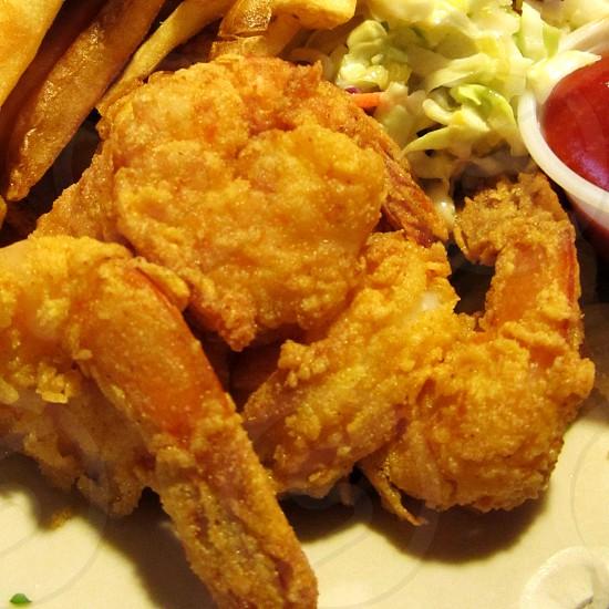 Closeup of fried shrimp photo