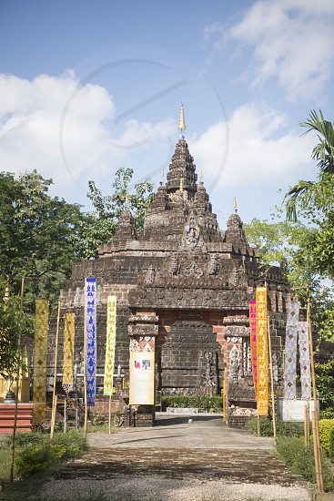 the wat tham pla or monkey cave temple near the town of Mae Sai in Thailand in the north of the city Chiang Rai in North Thailand. photo