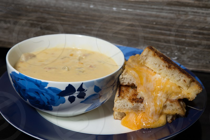 Soup and sandwich photo