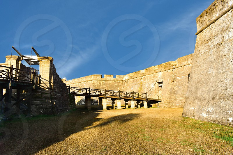 St. Augustine Florida. January 26  2019. Panoramic view of Castillo de San Marcos on lightblue background in Florida's Historic Coast photo