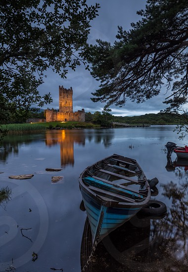 Reflection lake water nature landscape Ireland Killarney castle boat photo