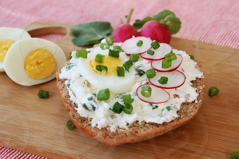 white cheese radish chive eggs healthy photo