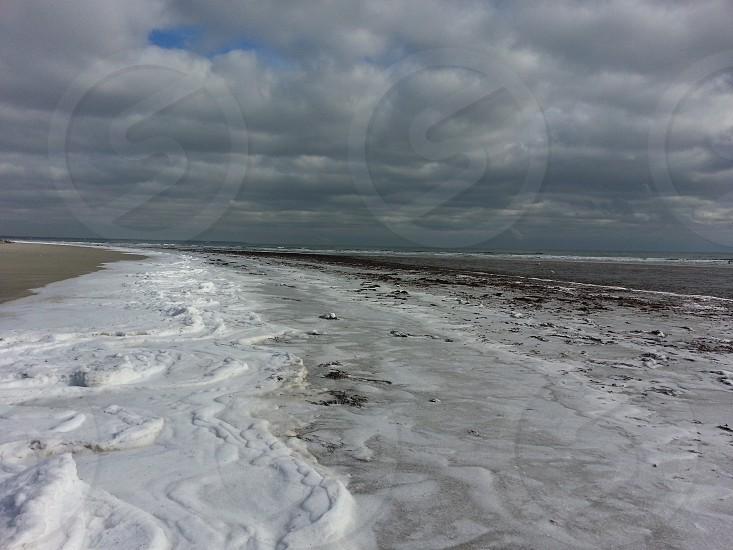 Frozen Maine beach photo