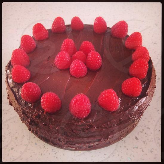 Chocolate raspberry cake photo