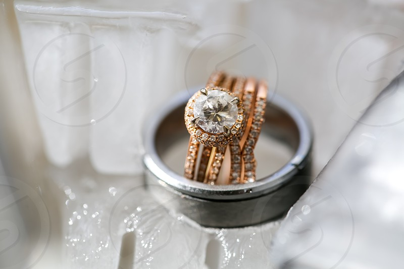 Wedding and Engagement rings on Ice photo