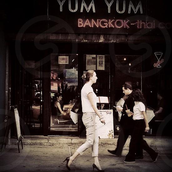 yum yum bangkok thai establishment signage photo