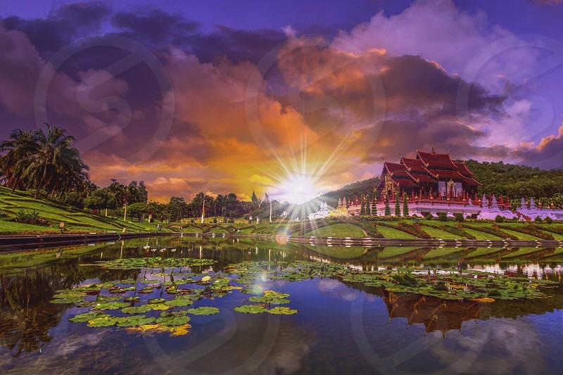 Royal Ratchaphruek Park and sunset Chiang Mai Thailand. photo