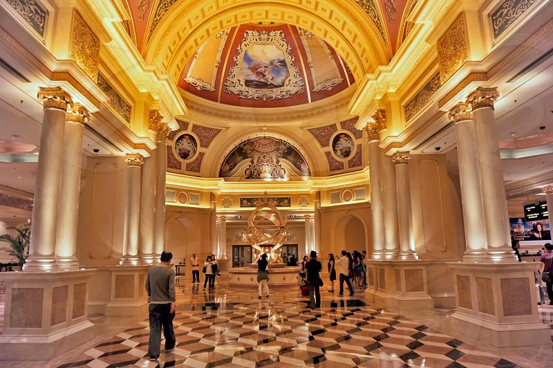 The Venetian Macao Resort Casino and Shopping Complex Macau's first integrated resort featuring replicas of the famous canals and architectural icons of Venice Italy.  photo