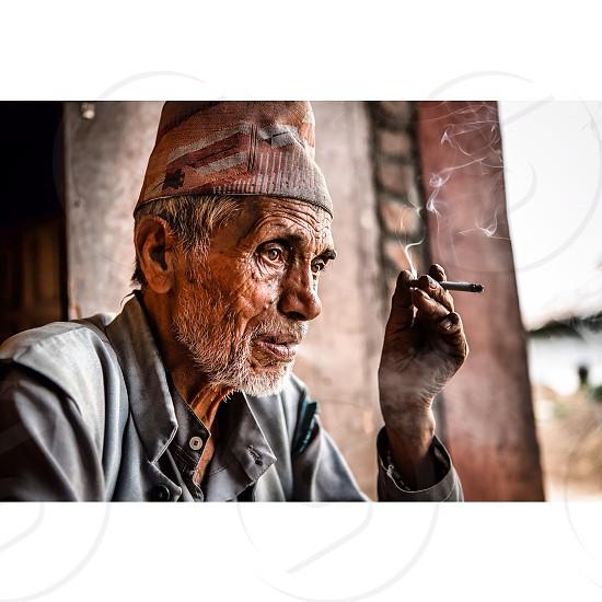 Portrait Old Men Nepal Nepali Travel  photo