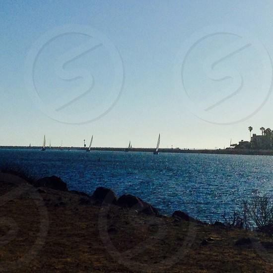 Sail Boats at Sunset - in Marina del Rey CA photo