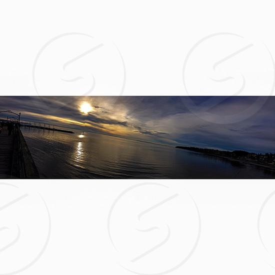 Pano sunsets White Rock British Columbia  photo