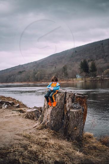 Lake boy child tree stump fall Shawnee mountain  photo