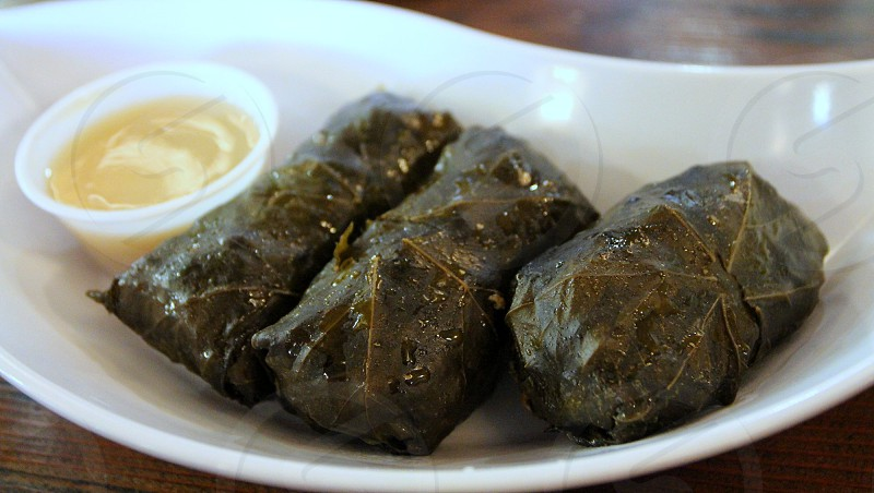 Dolmedes stuffed grape leaves with lemony sauce photo