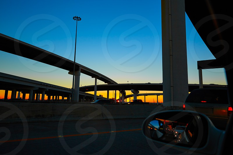 Sunset in Highway with bridges in Houston Texas US photo