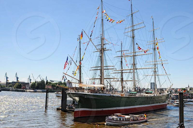 Rickmer Rickmers Ship in harbor of Hamburg Germany photo