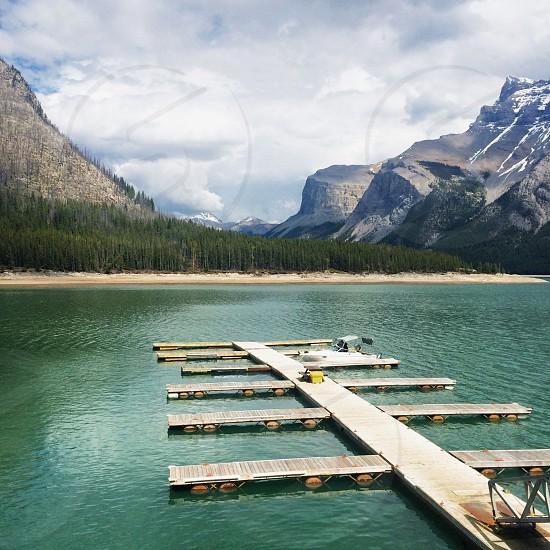Lake Minnewankka in Banff Alberta  photo